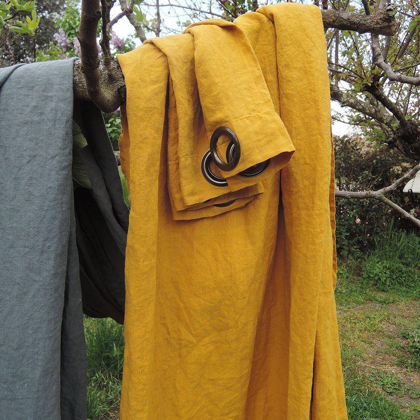 Rideau à oeillets en chanvre lavé moutarde Douro Casatera